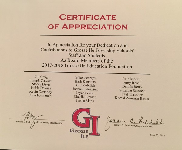 GI Board of Ed recognizes GIEF